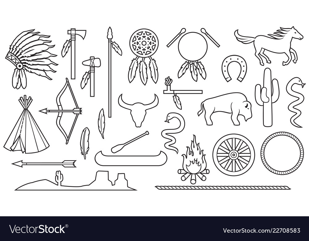 Native american indians thin line icons set