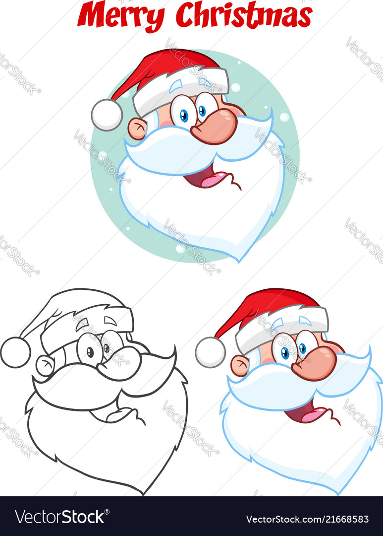 santa claus face character hand drawing collection vectorstock