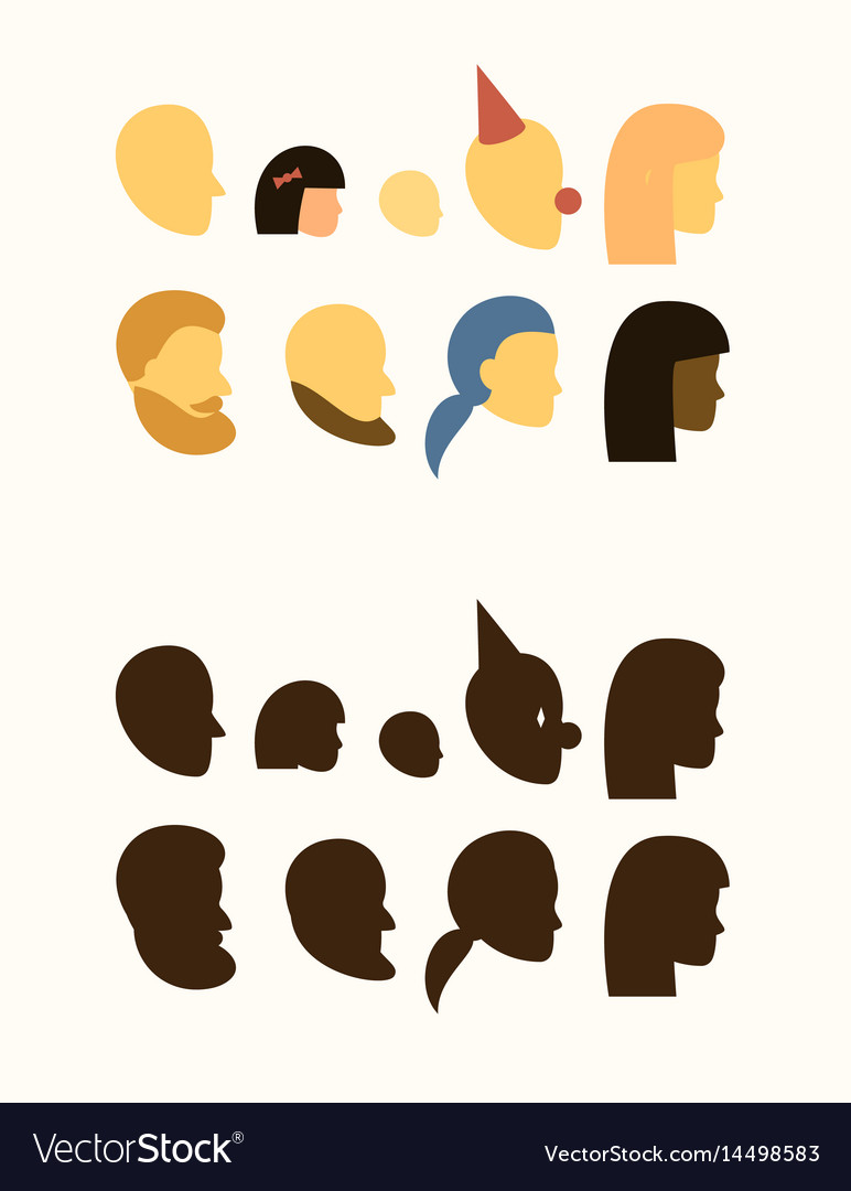Set - silhouette of head - people withe and black