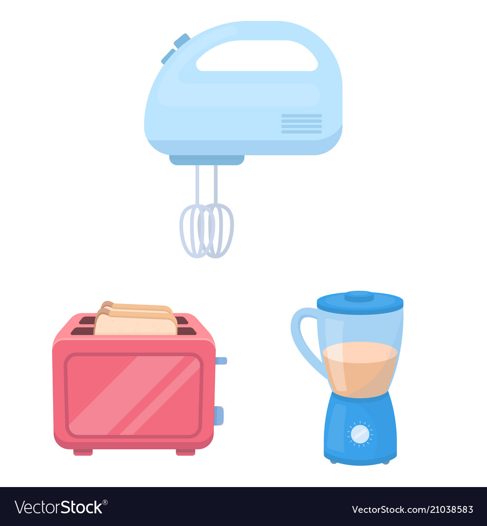 Types of household appliances cartoon icons in set