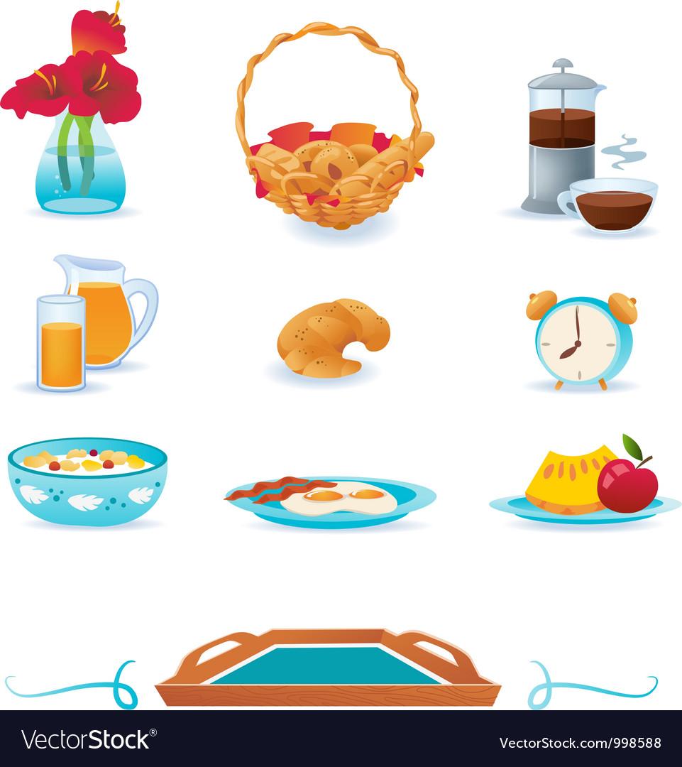 Blue breakfast icons set