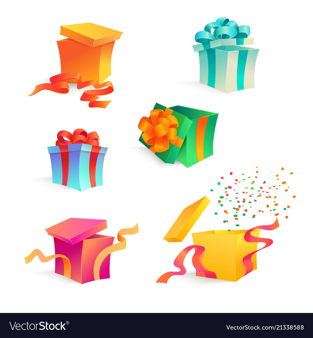 Cartoon present gift box ribbon bow set