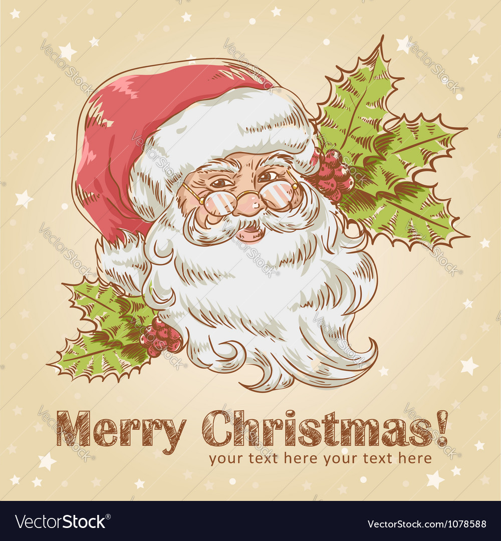 Christmas postcard with cute smiling Santa Claus