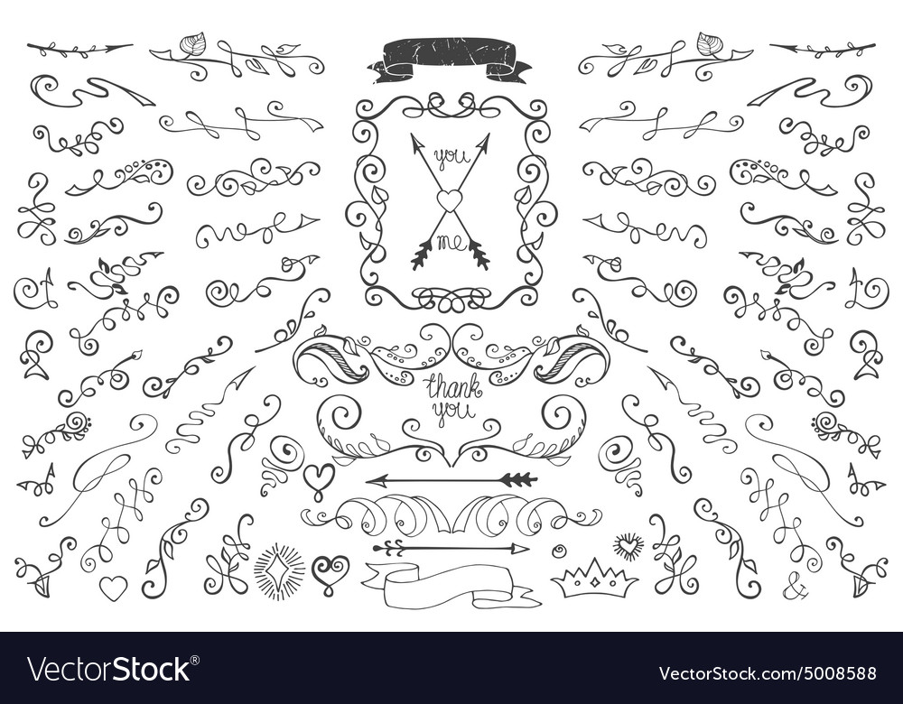 Doodles borderarrowsdecor element floral hand