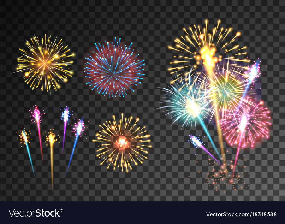 fireworks isolated on dark transparent background vector image