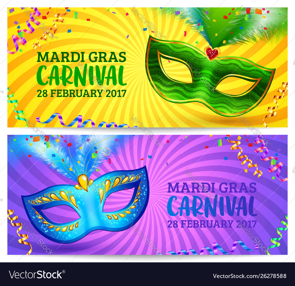 Green and blue carnival masks mardi gras
