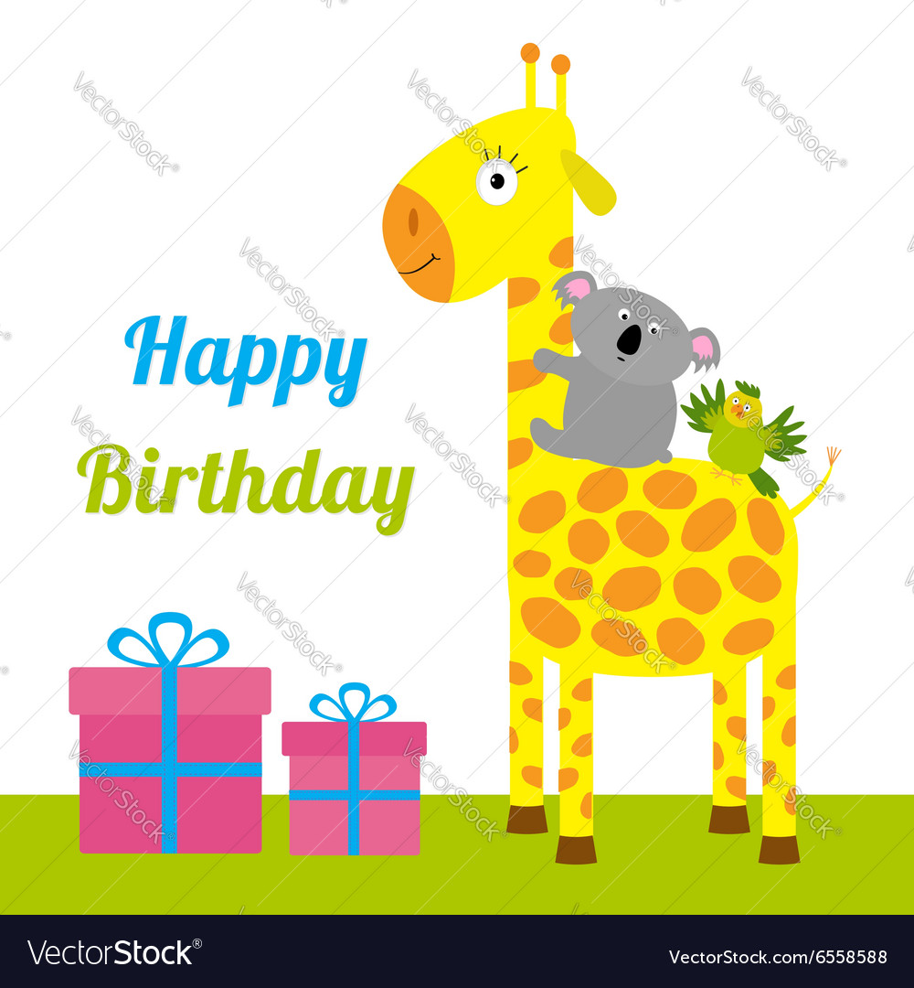 Happy Birthday card with cute giraffe koala and