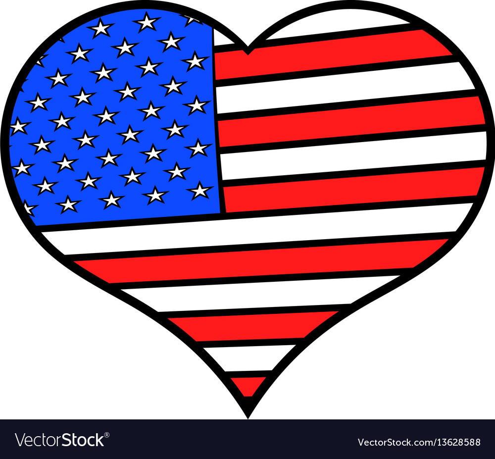 Heart in usa flag colors icon cartoon