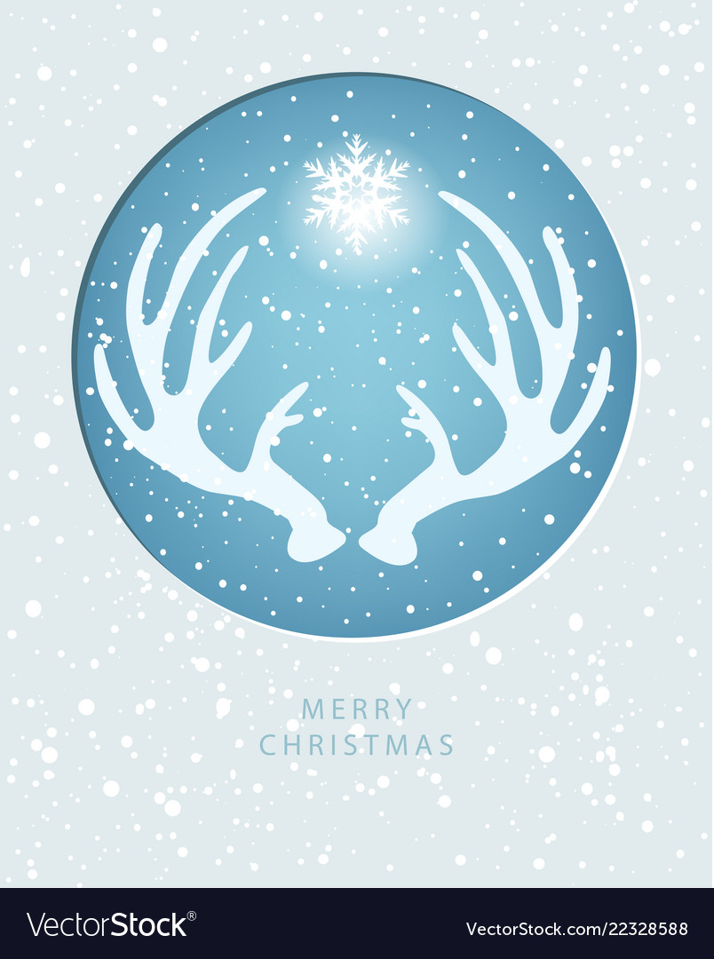 Merry christmas greeting card with antler