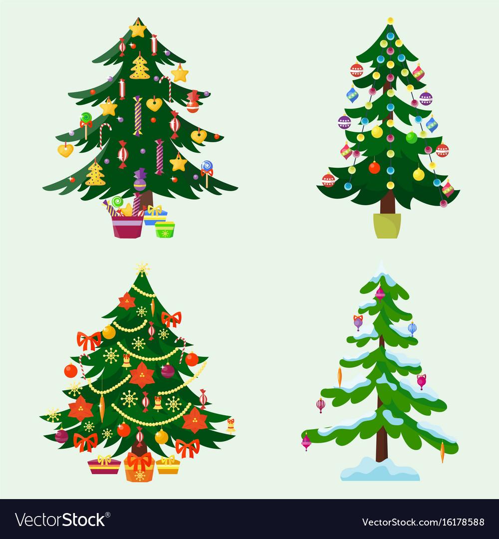 Pine tree cartoon green winter holiday