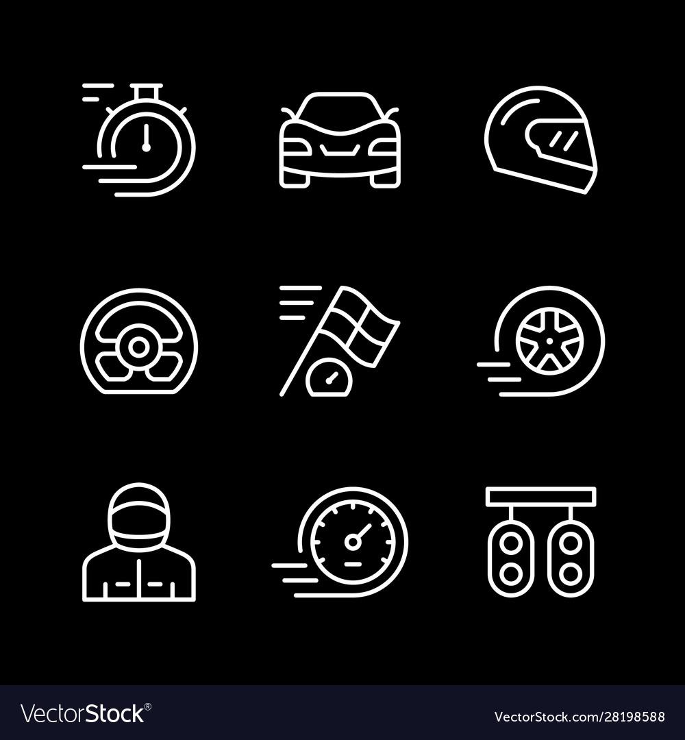 Set line icons racing