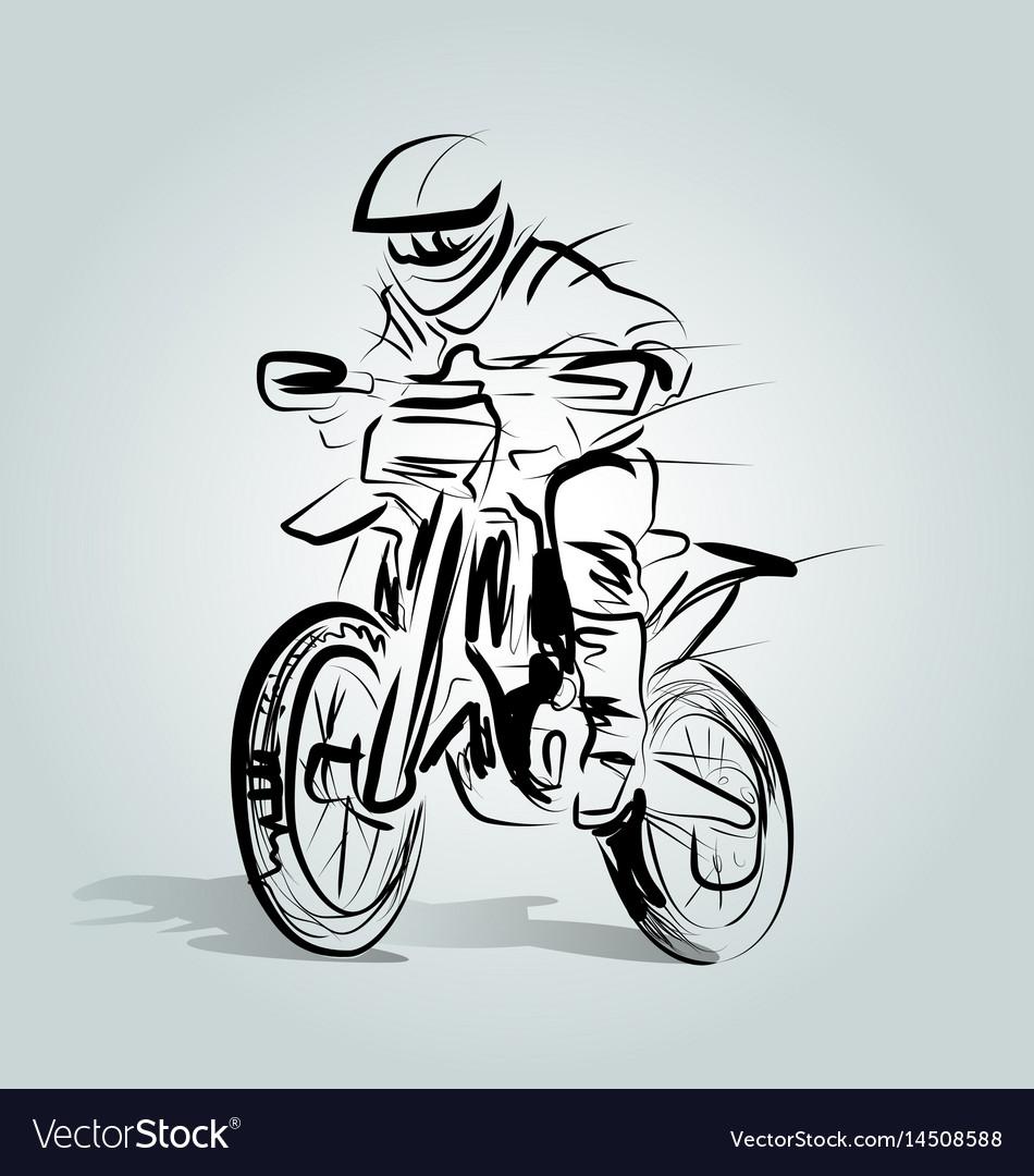 Sketch of a motocross rider