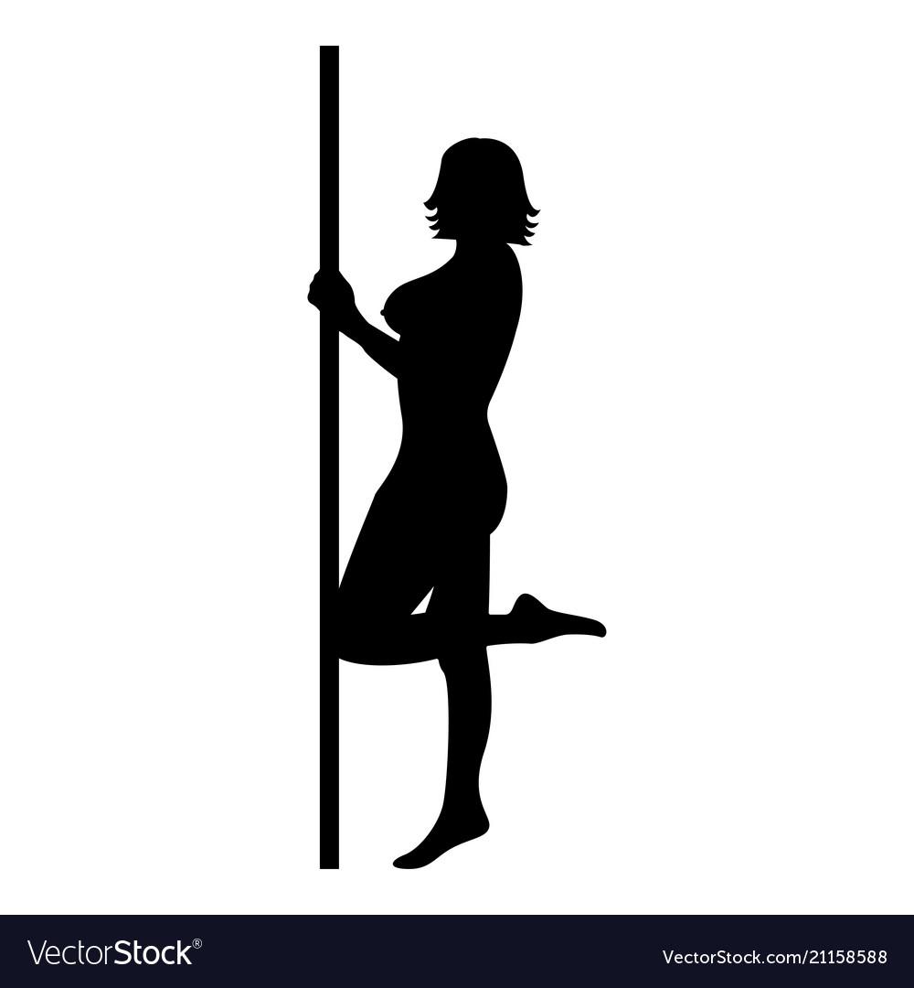 Striptease performer woman on tube icon black