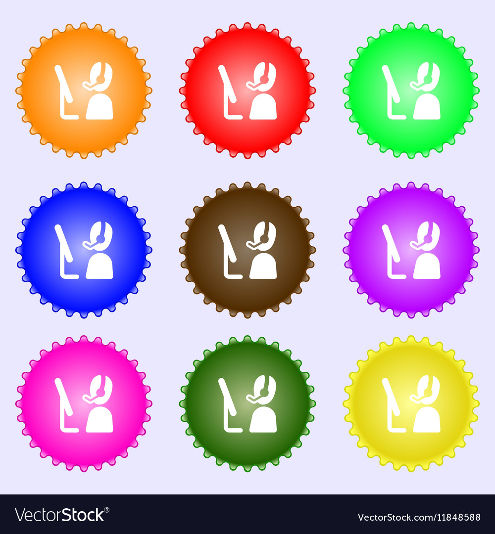 Telemarketing icon sign Big set of colorful