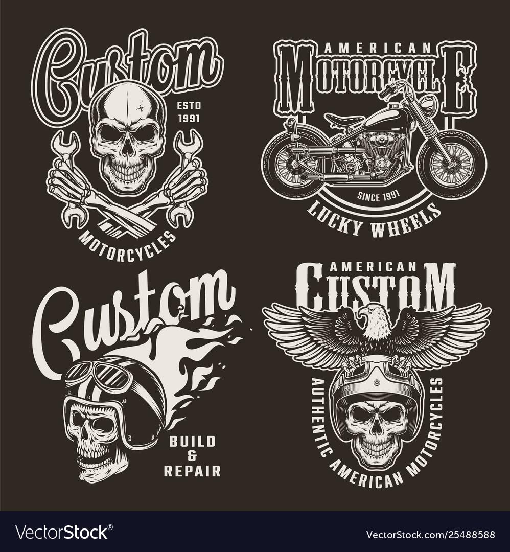 Vintage monochrome custom motorcycle prints