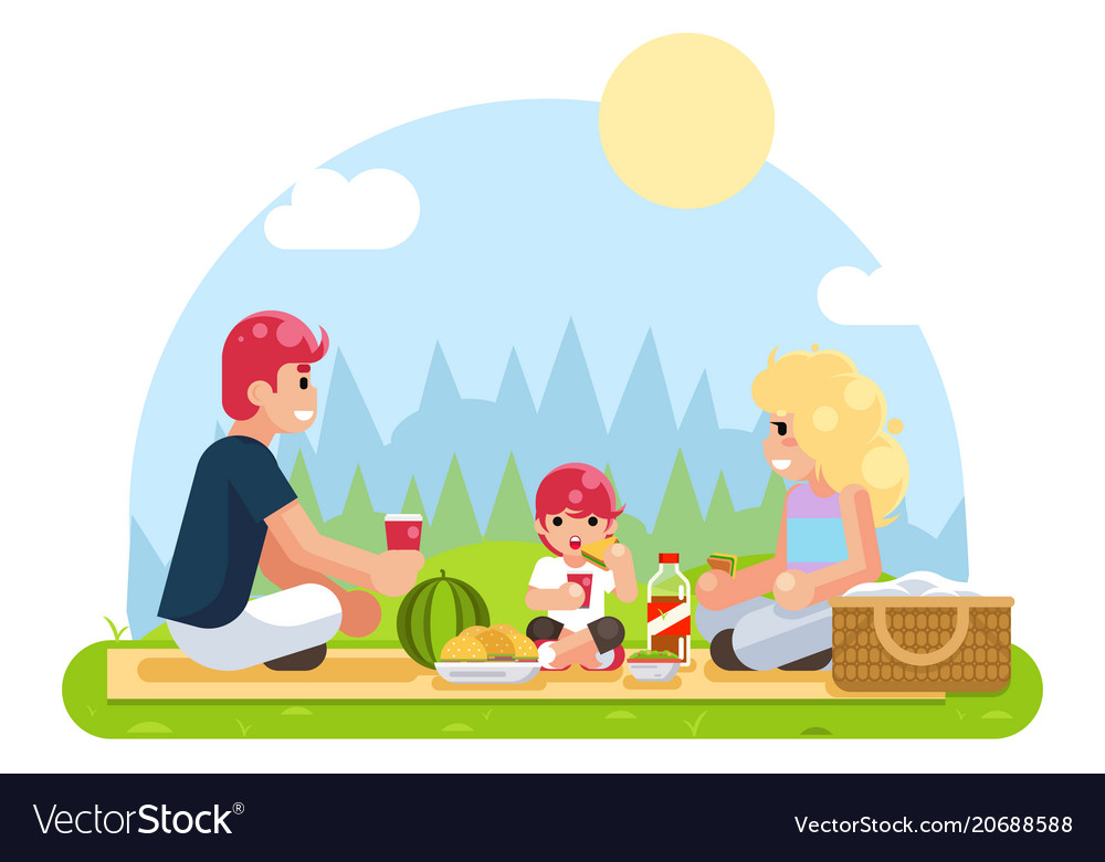 Weekend family vacation on nature food flat design