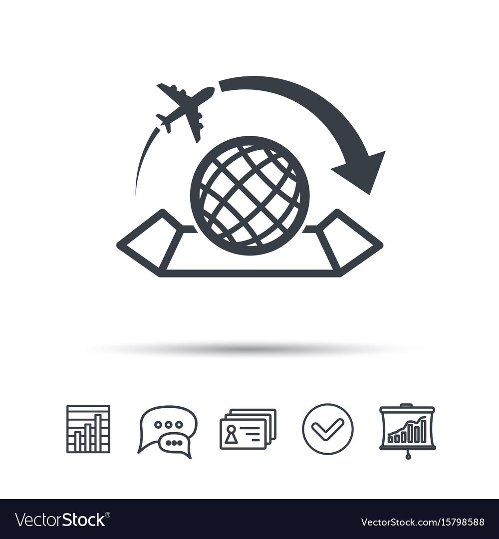 World map icon plane travel sign