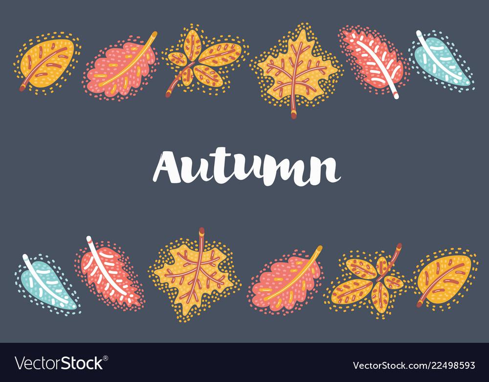 Autumn leaves frame on dark background