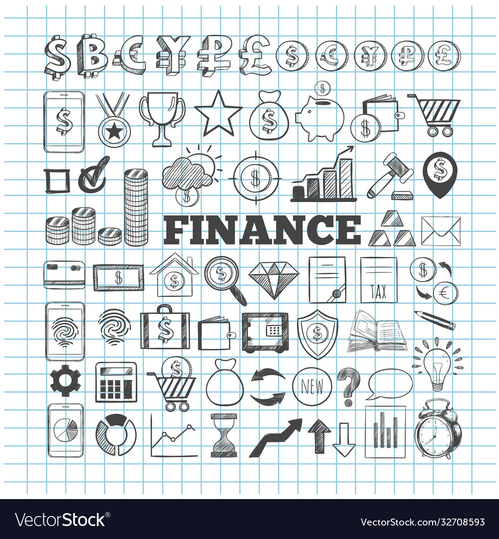 Business and finance icons hand drawn