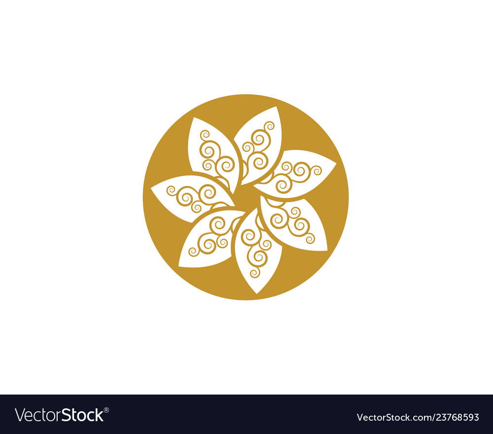 Circle flower icon logo template vector