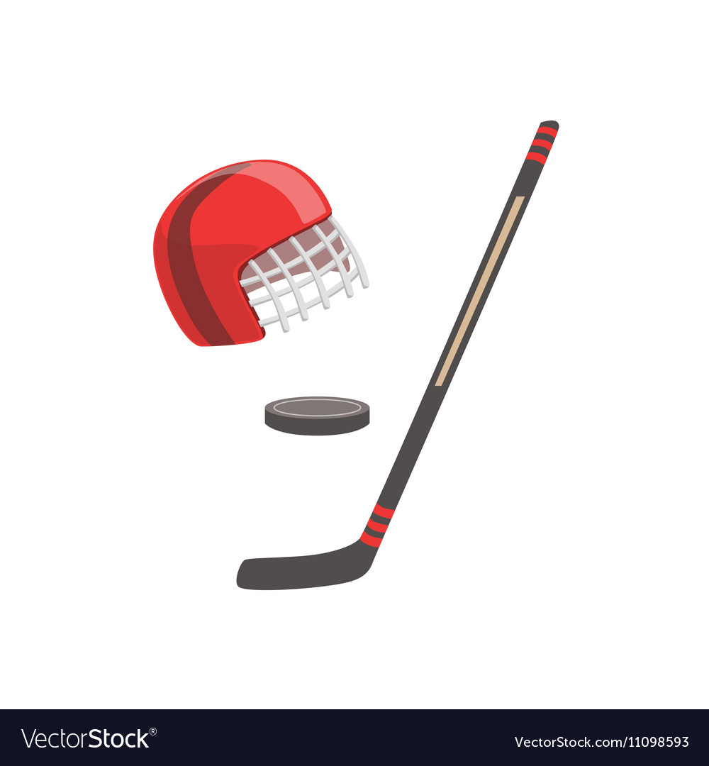 Hockey Stick Puck And Helmet As A National Vector Image