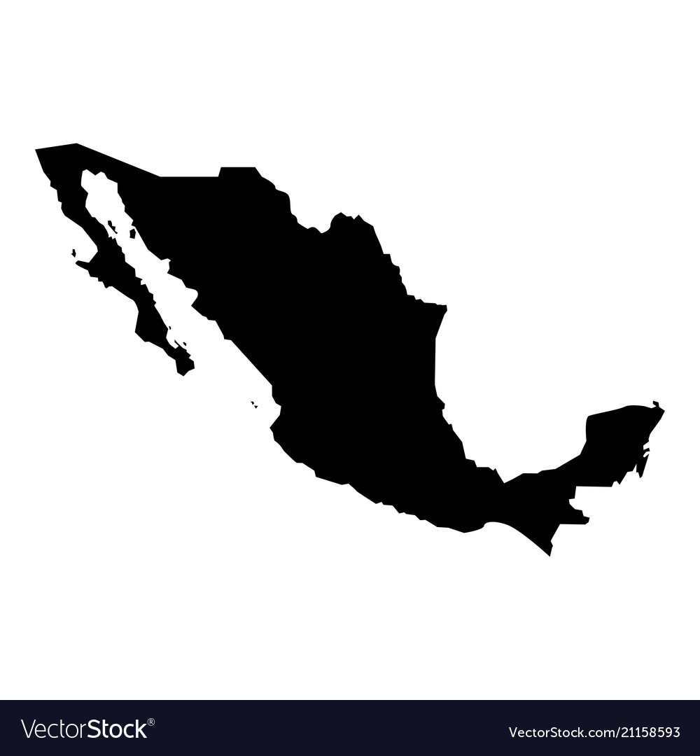 Map Of Mexico Icon Black Color Flat Style Simple Vector Image