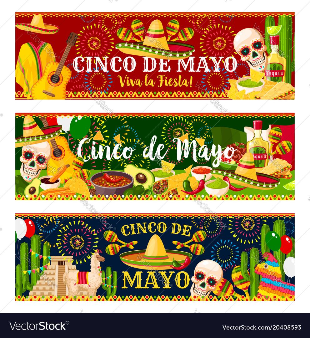 Mexican cinco de mayo fiesta banners