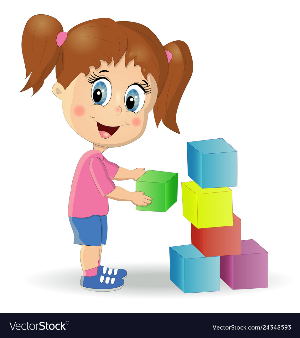 Multiracial children build tower with blocks kids Vector Image