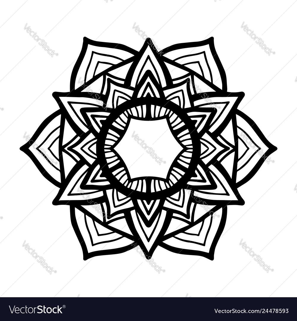 Round black mandala on white isolated background