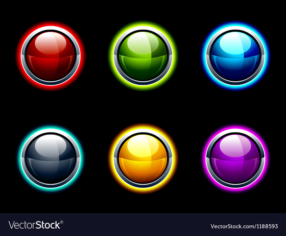 Set of glossy buttons vector image