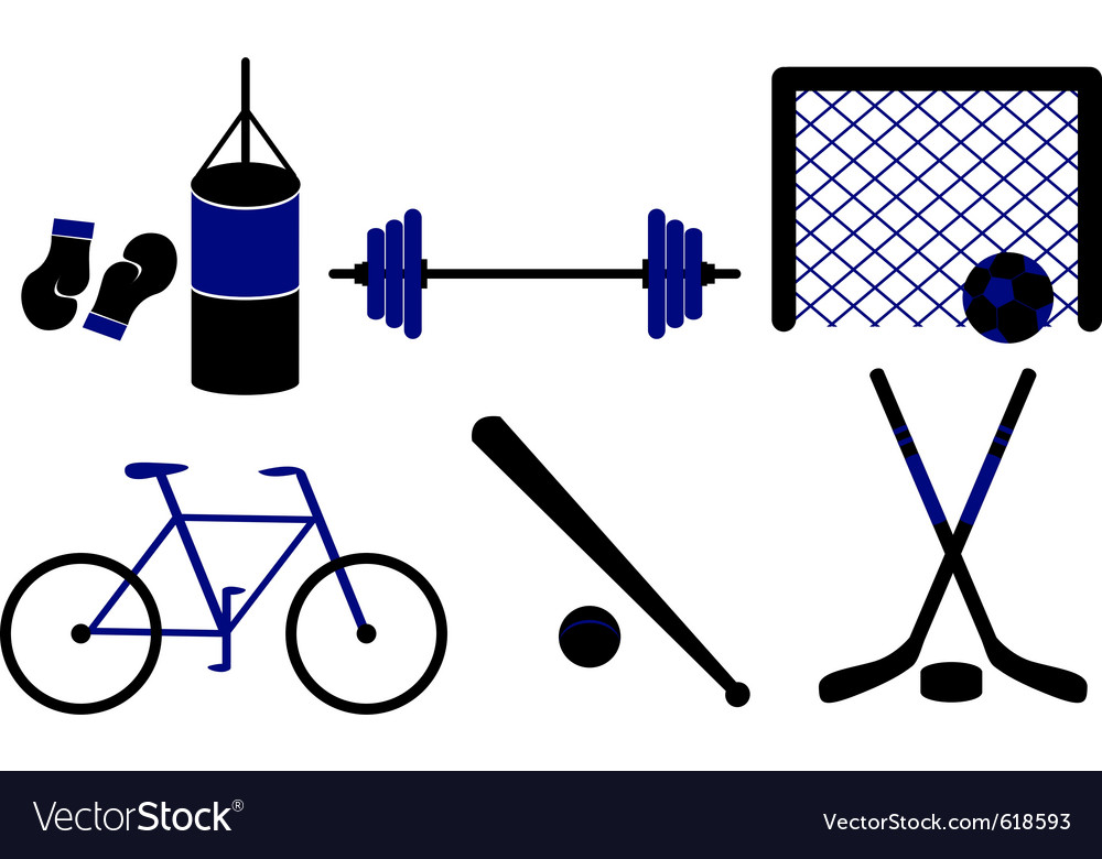 Set of sporting equipment isolated