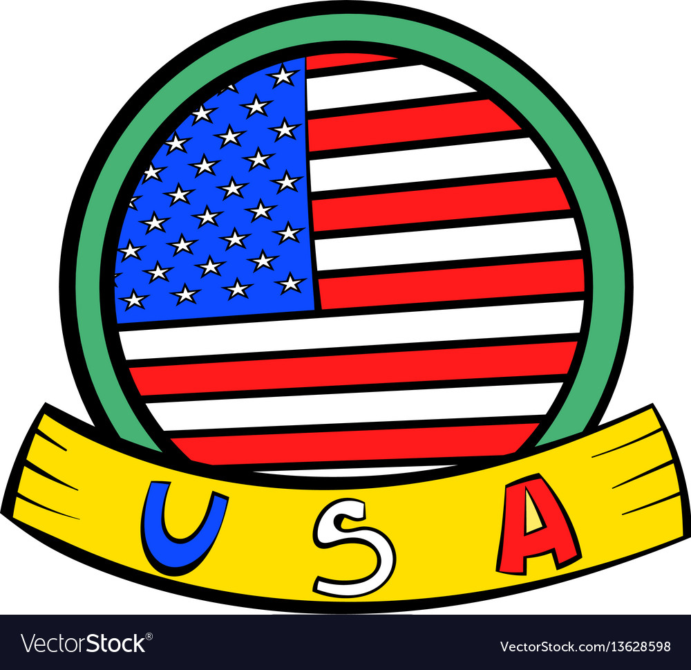 4th july independence day badge icon cartoon