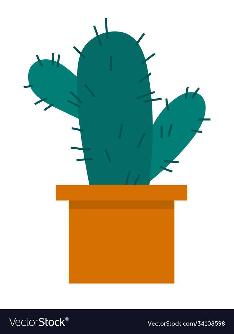 Cactus icon in a flat style on a white background vector