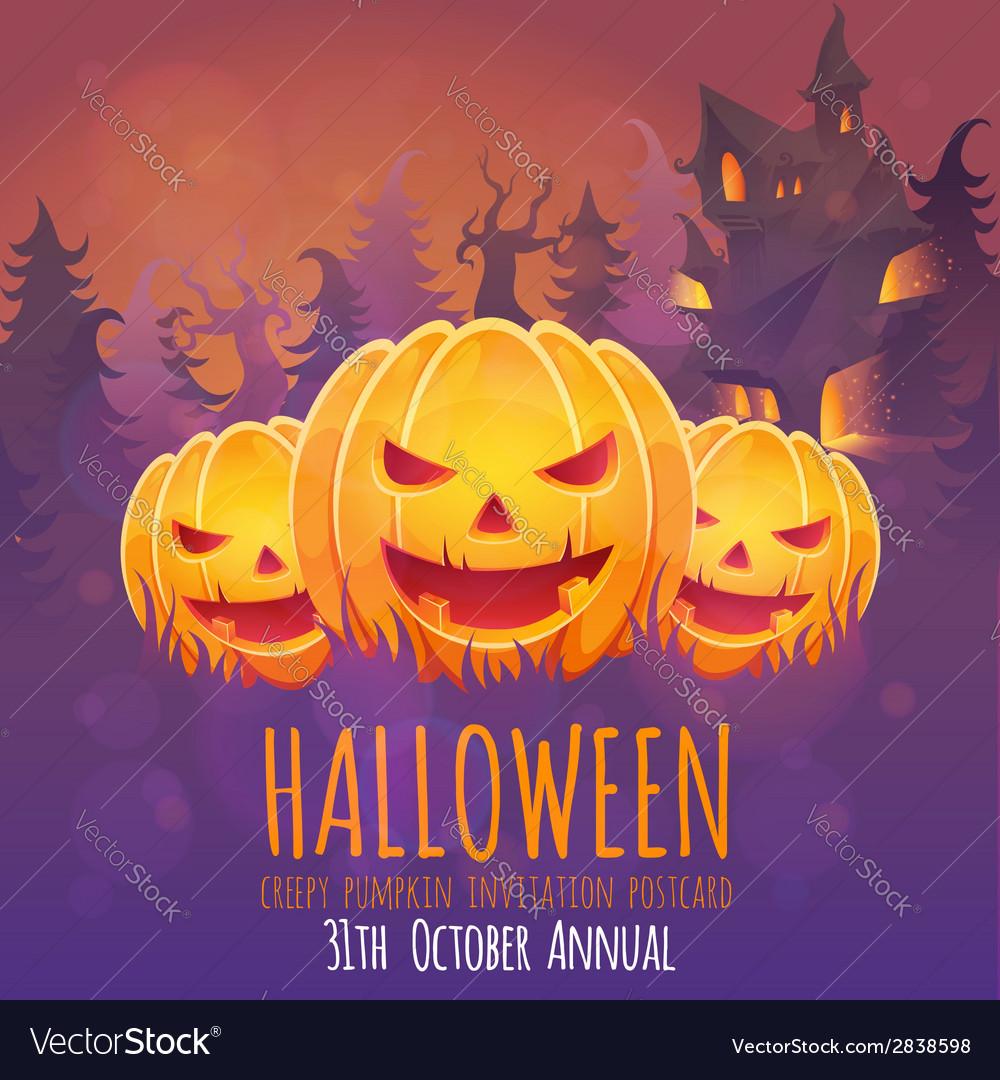 Creepy dark Halloween invitation card