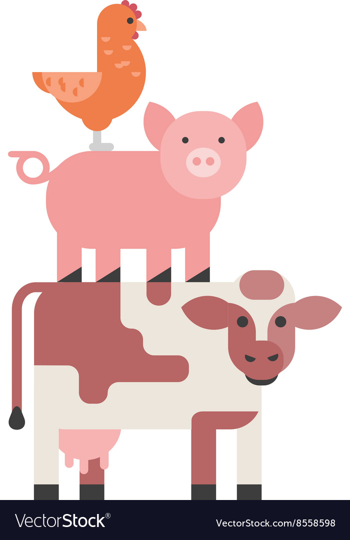 Farm animals set hen pig and cow domestic cartoon