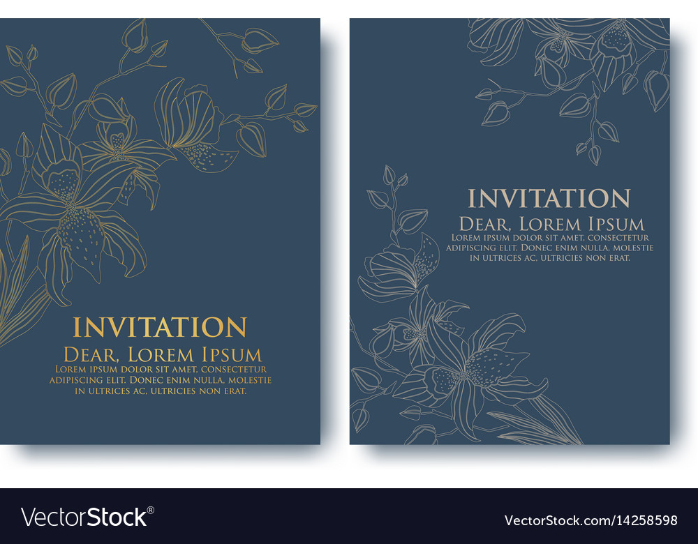 Invitation or wedding cards with vector image