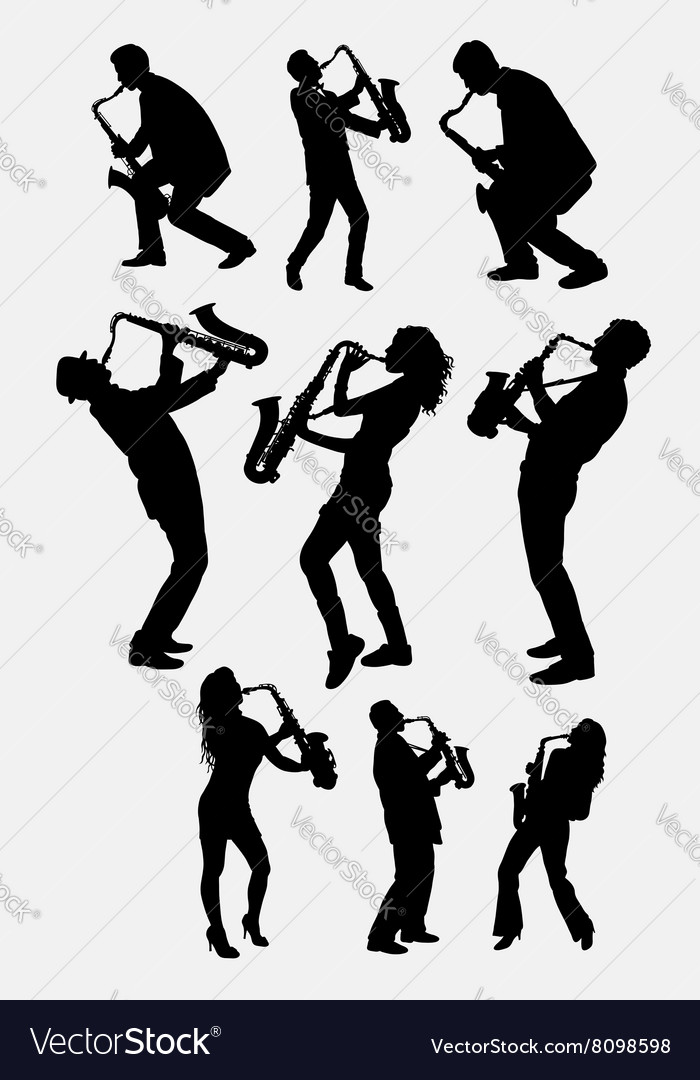 Saxophone instrument player silhouette vector image