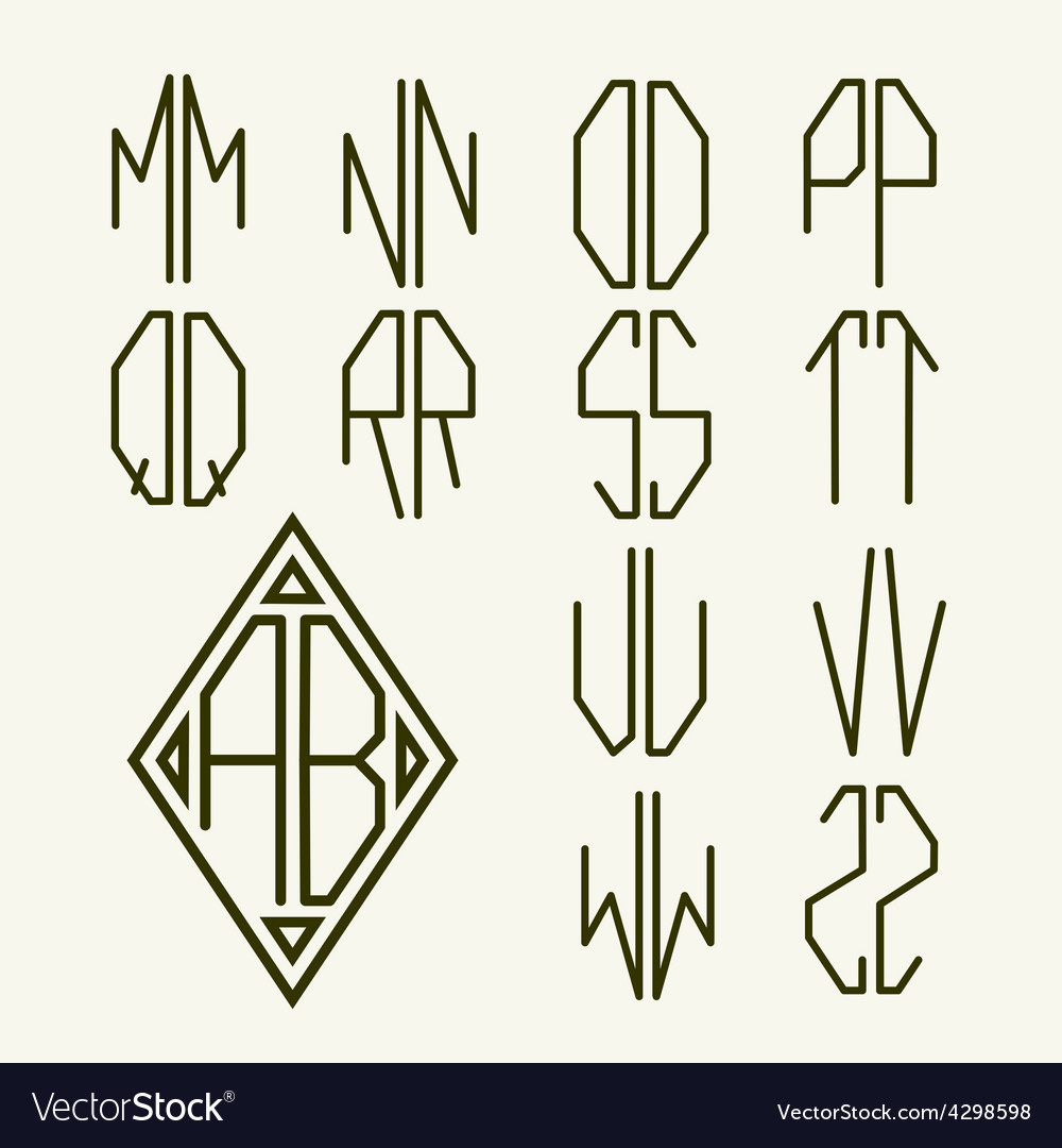 Set 2 templates of letters to create monogram