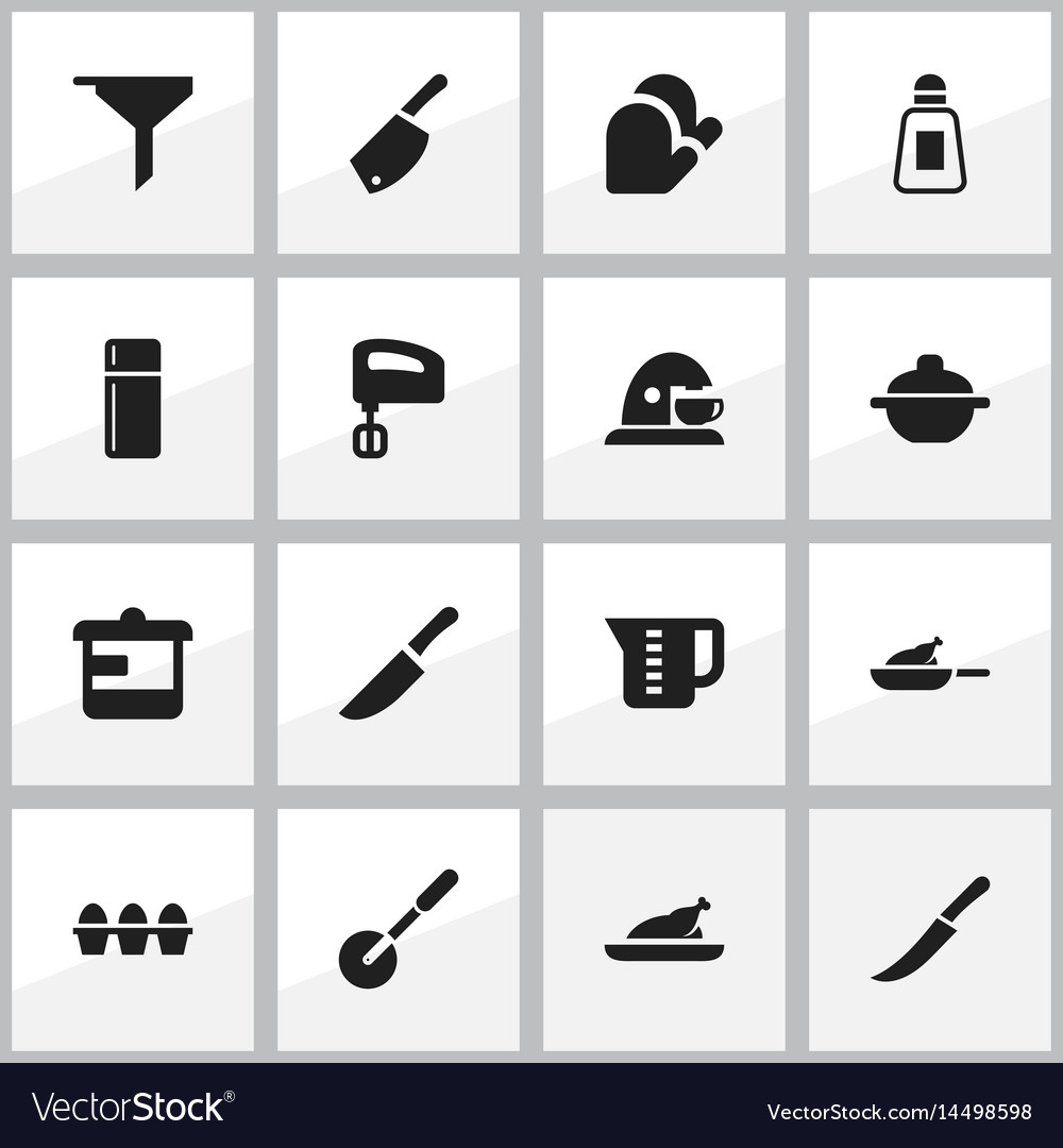 Set of 16 editable food icons includes symbols