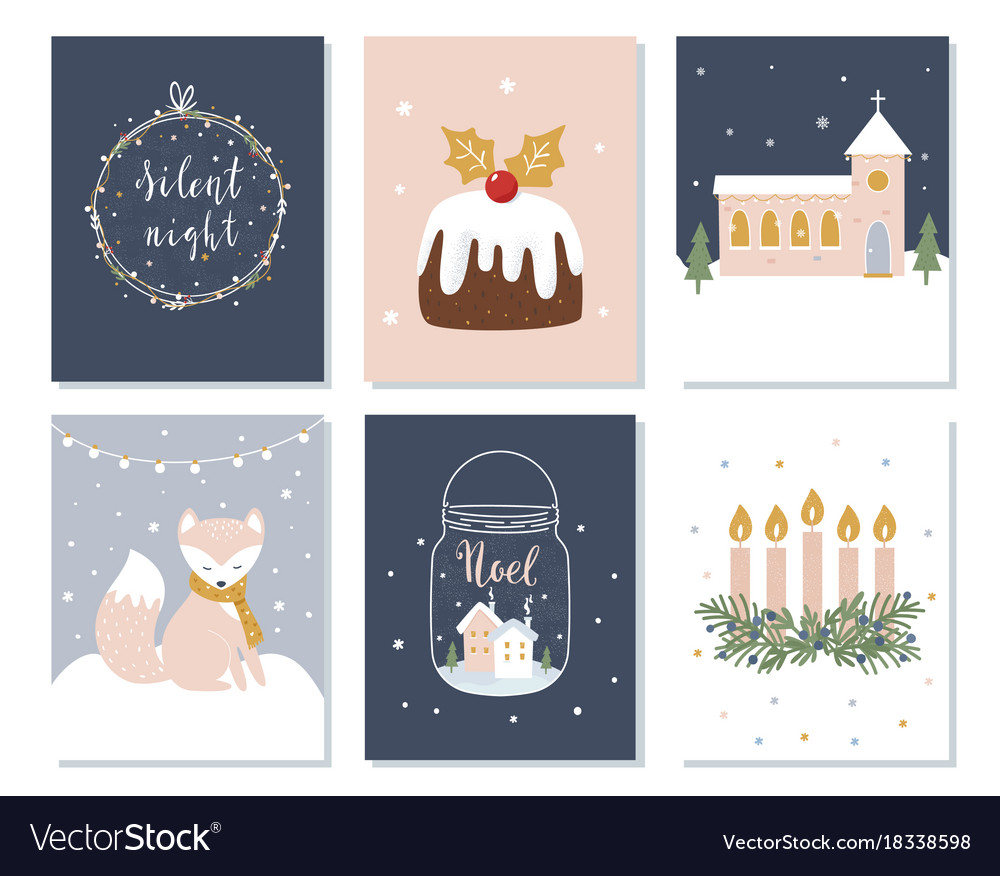 Set of christmas and winter holidays cards advent