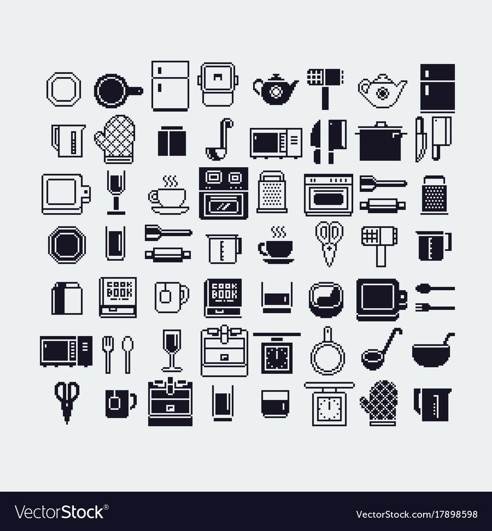 Set of dishes pixel art icons set