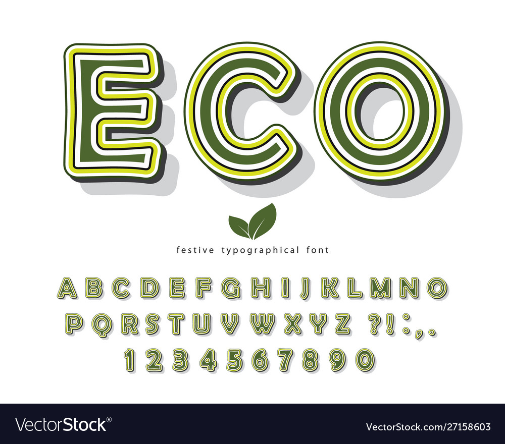 Eco green font cartoon abc letters and numbers