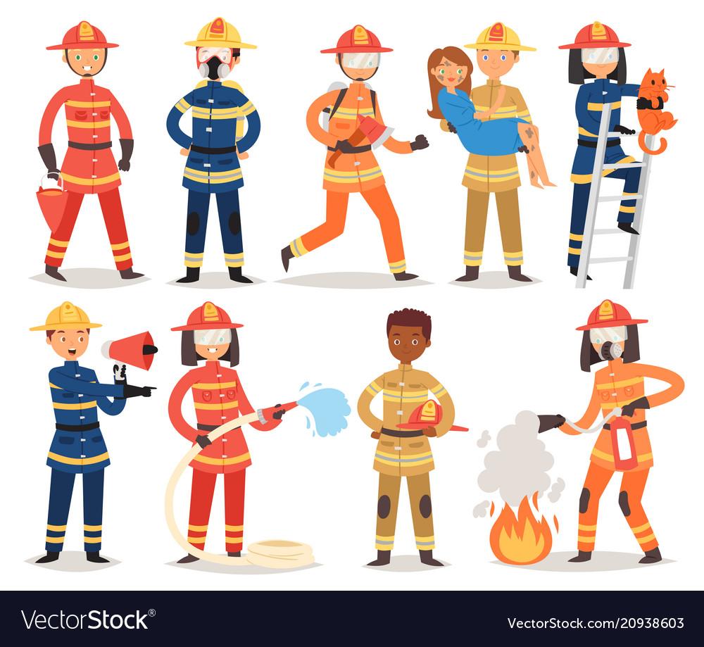 Firefighter cartoon fireman character