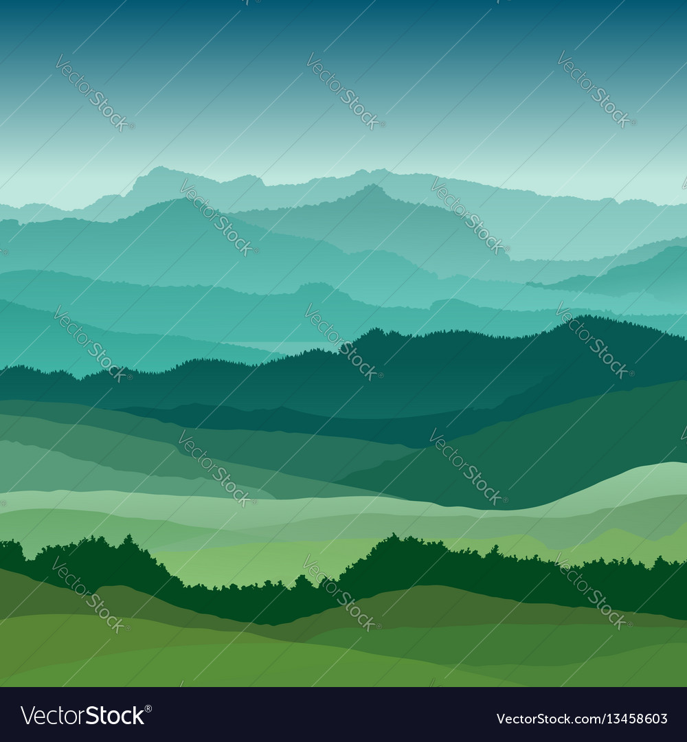 Flat landscape beautiful hills vector image