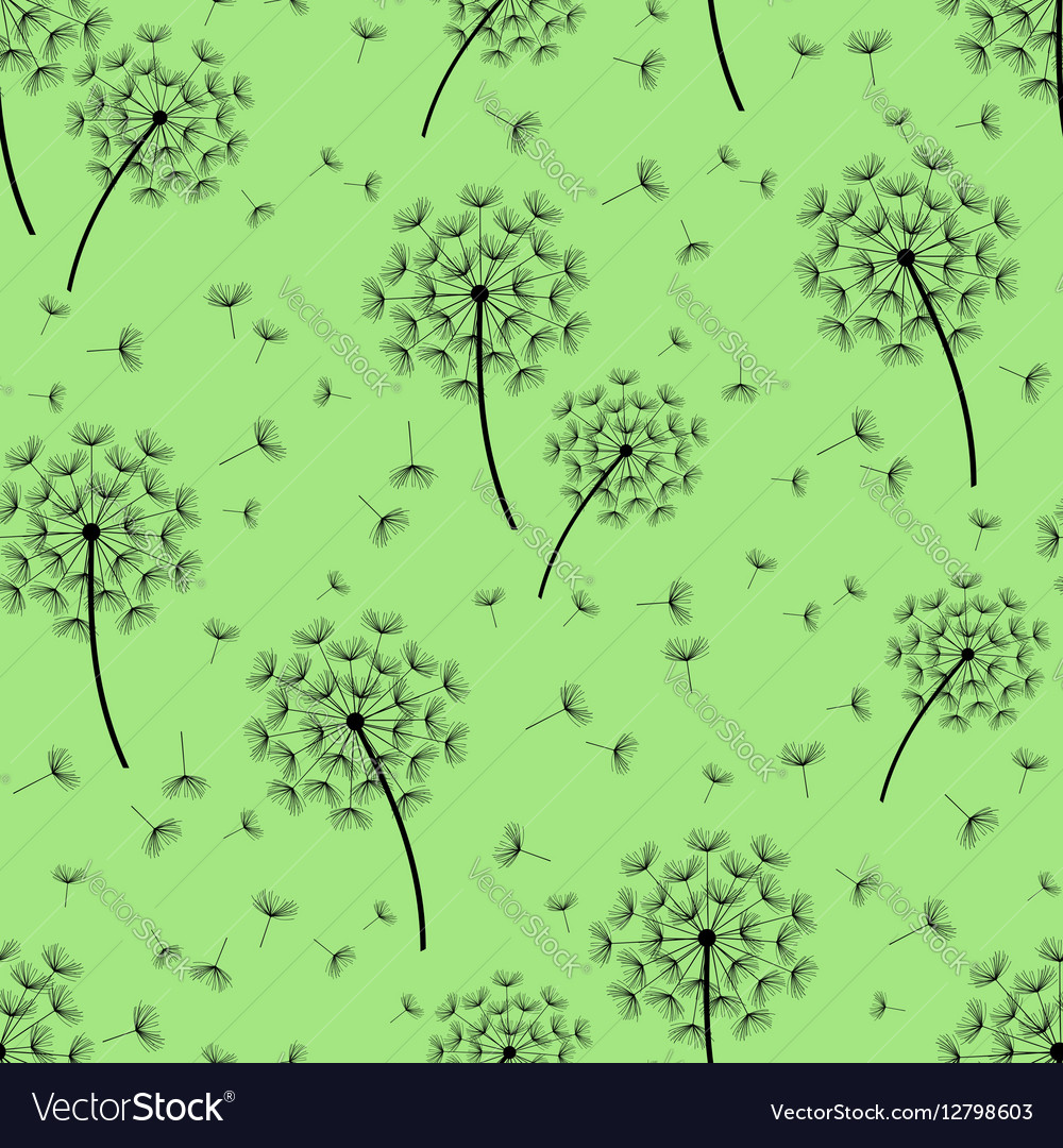 Green seamless pattern with black dandelions vector image