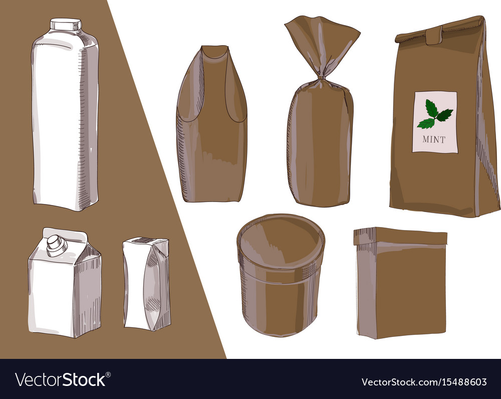 Hand drawn drawing package bag vector image