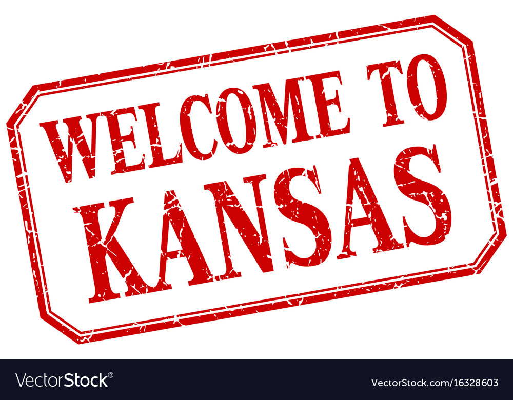 Kansas - welcome red vintage isolated label