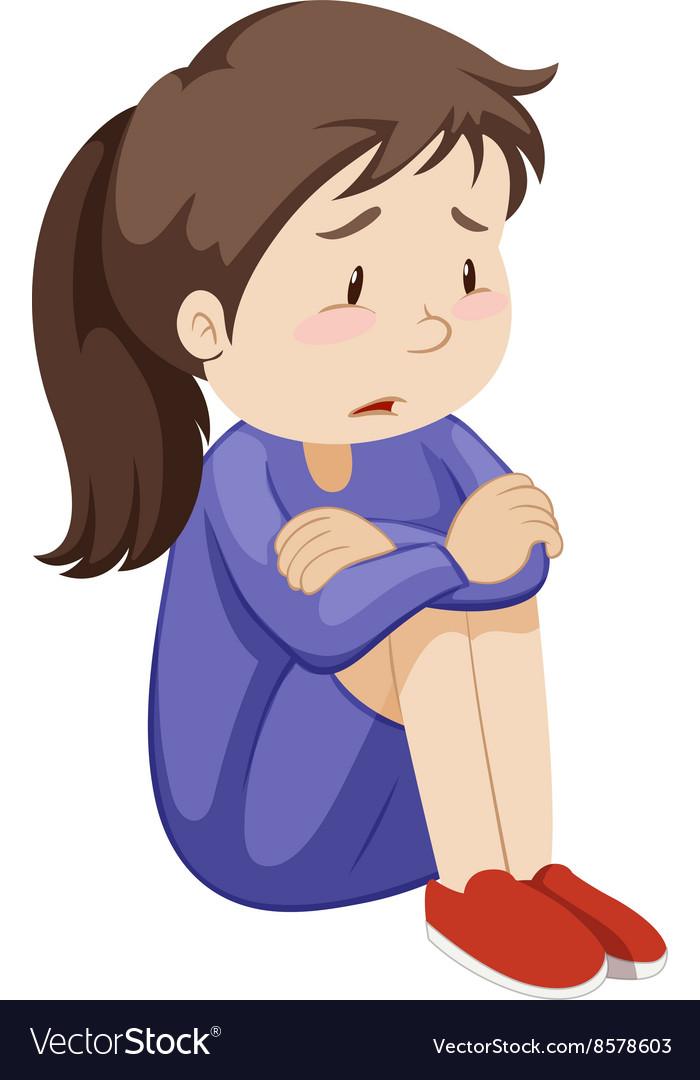 Sad girl sitting alone royalty free vector image - Cartoon girl sitting alone ...