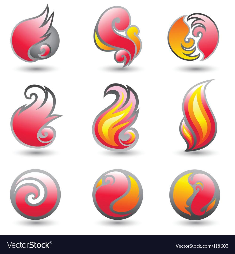 Set of fire corporate symbols