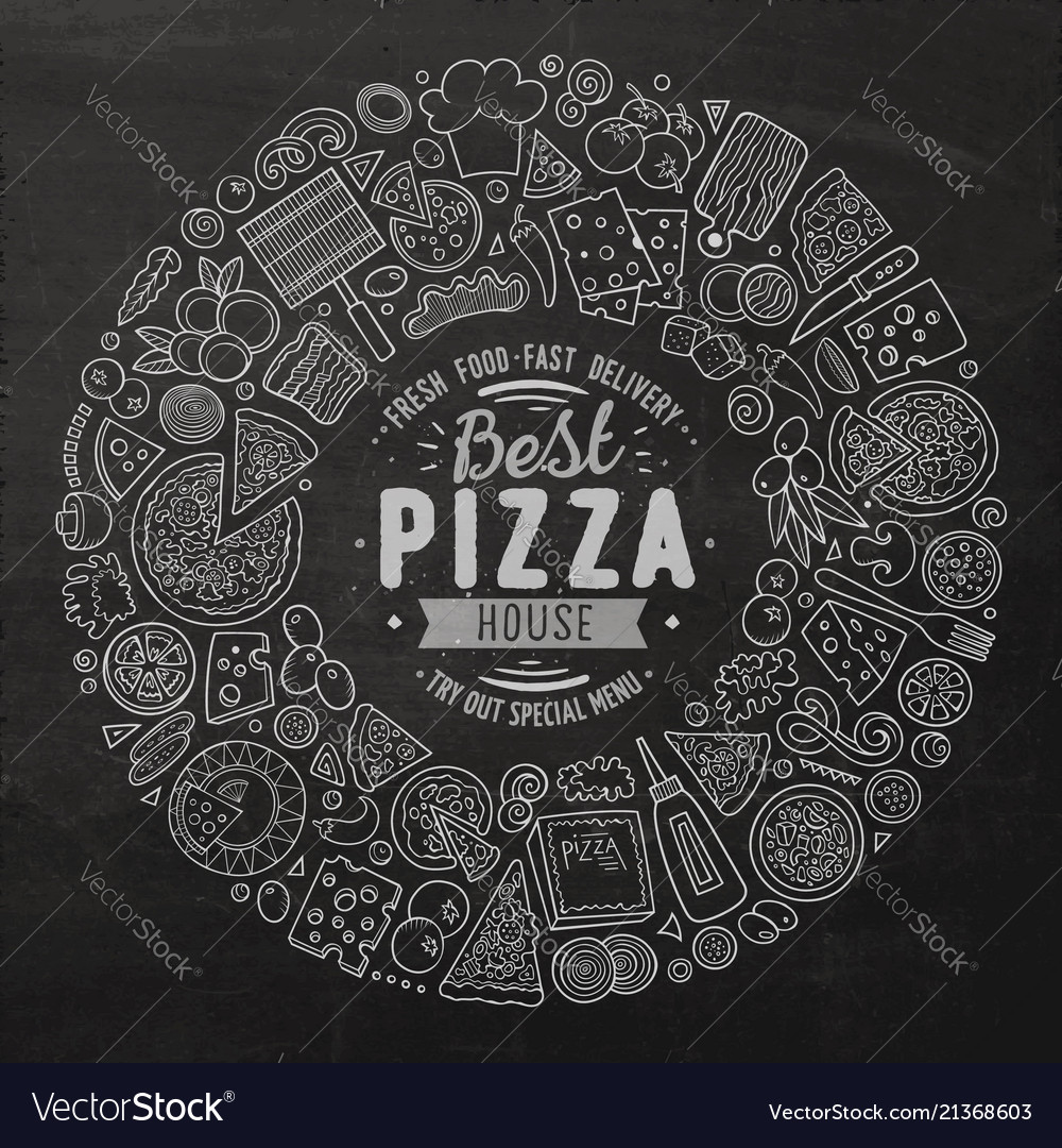 Set of pizza cartoon doodle objects symbols and